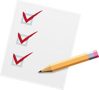 Checklist with pencil flat design illustration. Three of three