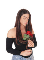 Beautiful woman smelling a red rose