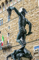 FLORENCE, TUSCANY/ITALY - OCTOBER 19 : Statue of Perseus holding the head of Medusa in Florence on October 19, 2019