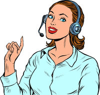 A female telecom operator. Telephone support