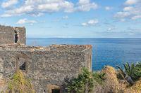 Ruin old house near coast of Canico at Madeira Island