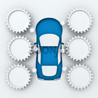 Car infographics with copyspace, 3d render
