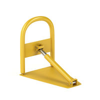 Yellow foldable parking barrier