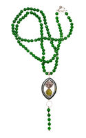 necklace from green nephrite beads isolated