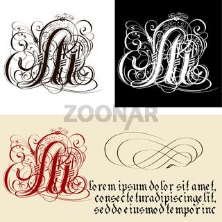 Decorative Gothic Letter M. Uncial Fraktur calligraphy.