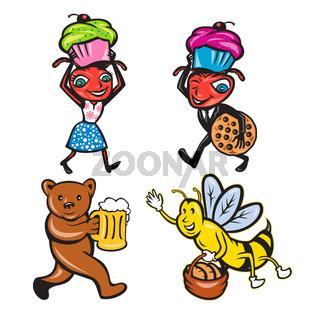 Animals With Food Mascot Cartoon Set