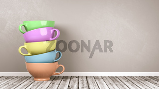 Stack of Colored Porcelain Breakfast Cups on Wooden Floor Against Gray Wall with Copy Space 3D Illustration
