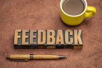 feedback word abstract in vintage wood type