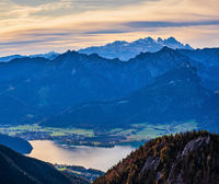 Picturesque autumn morning Alps mountain Wolfgangsee lake view from Schafberg viewpoint, Salzkammergut, Upper Austria.