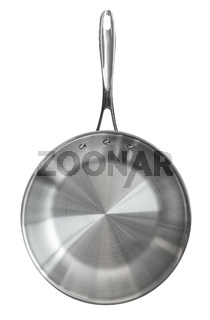 Isolated Stainless Steel Frying Pan