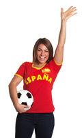 Cheering spanish girl with football