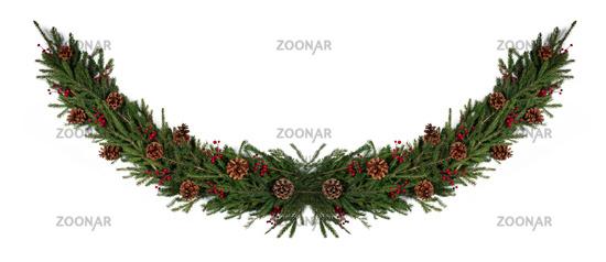 Christmas fir decoration on white