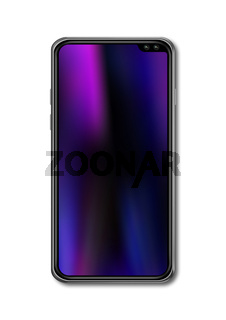 All screen smartphone mockup isolated on white. 3D render