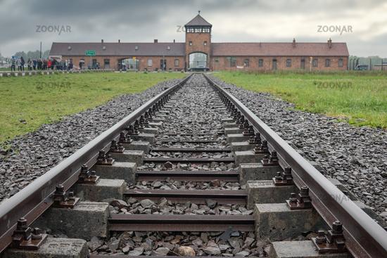 Railway to WW2 concentration and extermination camp Auschwitz-Birkenau in Poland