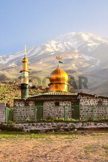 Mosque underneath volcano Damavand