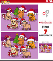 differences educational task for kids with dogs on Christmas time