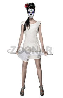 Day of the dead girl with sugar skull makeup holding lace umbrella isolated on white background