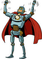 Robot superhero in a heroic pose