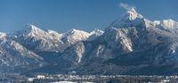 Panorama Winterlandschaft im Allgäu bei Füssen