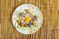 Smoked mackerel, courgette Mushroom salad