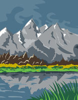 Grand Teton National Park Located in Jackson Wyoming United States WPA Poster Art Color