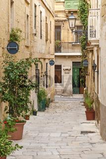 cobbled street in valetta old town malta