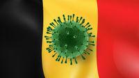 Coronavirus Model on the background of Belgian flag.