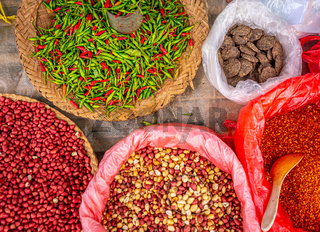 Variety of beans and spices, local market