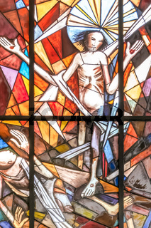 Stained glass window of Jesus Christ crucified