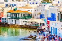 Greek tavern in Little Venice, Mykonos, Greece