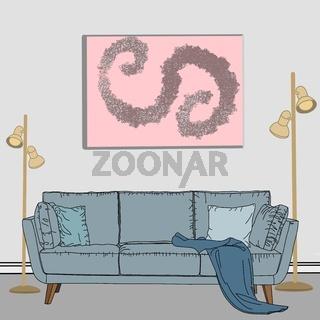 Illustration eines Sofas mit Decke und Kissen