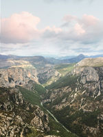 Mountain landscape and valley, Verdon, Provence, France -
