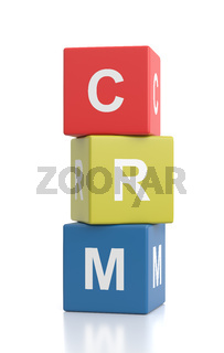 CRM Cubes Isolated on White Background