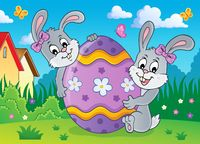 Easter egg and rabbits theme image 2