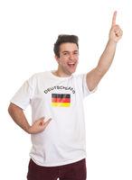 Happy german sports fan with black hair