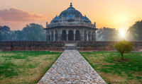 Tomb of Isa Khan, mysterious sunrise view, India