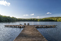 lake with bathing stage in summer