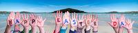 Children Hands Building Word Happy Easter Day, Ocean Background