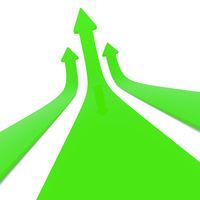 Green upswing arrows on white