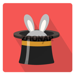 Magician hat with a rabbit icon flat style with long shadows, isolated on white background. illustration.