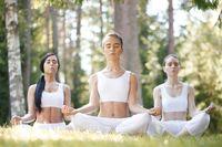 Yoga group training at park