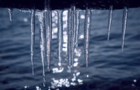 Icicles hanging over the water