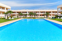 Alicante, Spain - June 2, 2020: Modern residential complex with swimming pool. Concept of rented apartment summer holidays, new home buying, loan and lending. No people. Spain, Costa Blanca. España