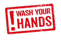 A red stamp on a white background - Wash your hands