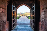 View on the Bathtub of Jahangir from the palace, Agra Fort, India