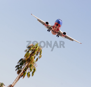 Jet Aiplane Domestic Airline Flight Descends for Landing