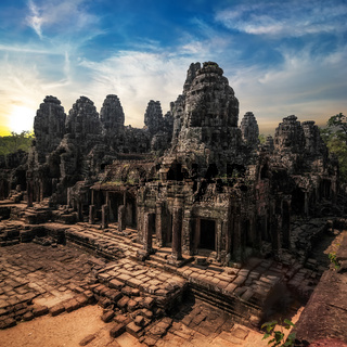 Amazing view of Bayon temple at sunset. Angkor Wat complex, Siem Reap, Cambodia travel destinations