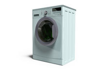 Blue washing machine automatic rinsing things in water 3d render on white background with shadow