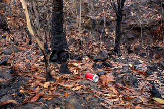 Straight after bush fires people leave rubbish in the landscape