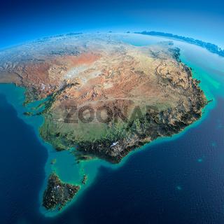 Detailed Earth. Australia and Tasmania